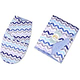 Baby Bucket AC Double Layer Velvet Fleece Newborn Printed Baby Blanket & Swaddle Wrap (VEL ZIGZAG)