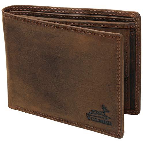 Fa.Volmer® Herren Leder Geldbörse braun mit RFID-Schutz Echtleder Geldbeutel Portemonnaie Used Look #VO19N