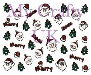 Christmas Nail Art Decal / Tattoo / Sticker Santa