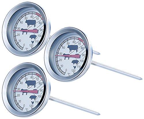 Rosenstein & Söhne Bimetallthermometer: Analoges XL Fleisch- und Braten-Thermometer, 3er-Set (Grillthermometer Edelstahl)