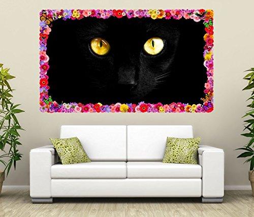 3D Wandtattoo Katzenaugen schwarze Katze Augen Blumen Rahmen Wandbild Tattoo Wohnzimmer Wand Aufkleber 11L1035, Wandbild Größe F:ca. 97cmx57cm