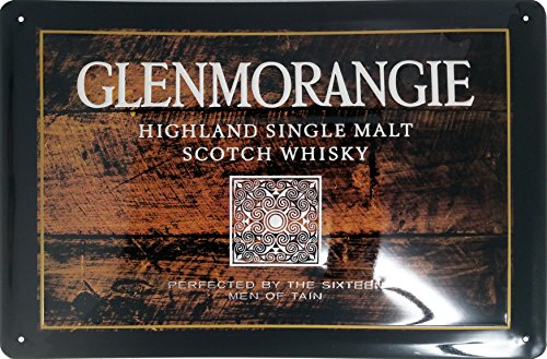 GLENMORANGIE 3D Schild, Original Glenmorangie Highland Single Malt Scotch Whisky Brand Nostalgic Retro Metal Plate, 20 x 30 cm