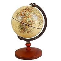 "KiaoTime Vintage World Globe Antique Decorative Desktop Globe Rotating Earth Geography Globe Wooden Base Educational Globe Wedding Gift 8.25""x 5.75"""