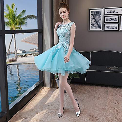 Kurze Abschlussball-partei-kleid (BINGQZ Damen/Elegant Kleid/Cocktailkleider Hellblaue Kurze Abschlussball-Partei-Kleid-formales Kleid-Elegante Spitze-Cocktailkleider Vestidos de Coctel Sukienka Koktajlowa)