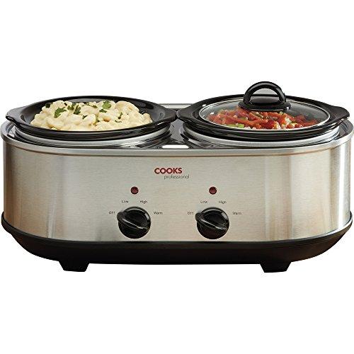 51ZtzaPPu%2BL. SS500  - Cooks Professional Double Pot Slow Cooker with Glass Lids & Removable Ceramic Bowls 2 x 1.2L Litre, Silver