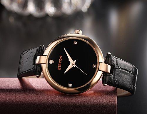 ETEVON Women's Casual Crystal Quartz Leather Watch mit schwarzem Zifferblatt und Rose Gold Edelstahl Case, einfach Kleid Handgelenk Uhren für Frauen Ladies - 3