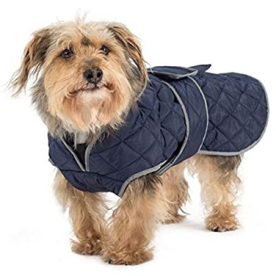 Ancol Muddy Paws Navy Quilted Coat with Chest Protector Puppy Dog Warm Winter Jacket by Ancol