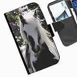 Hairyworm- Pferde Samsung Galaxy S7 (G930, G930F, G930FD, Samsung Galaxy S7 Duos with dual-SIM card slots) Leder Klapphülle Etui Handy Tasche, Deckel mit Kartenfächern, Geldscheinfach und Magnetverschluss.