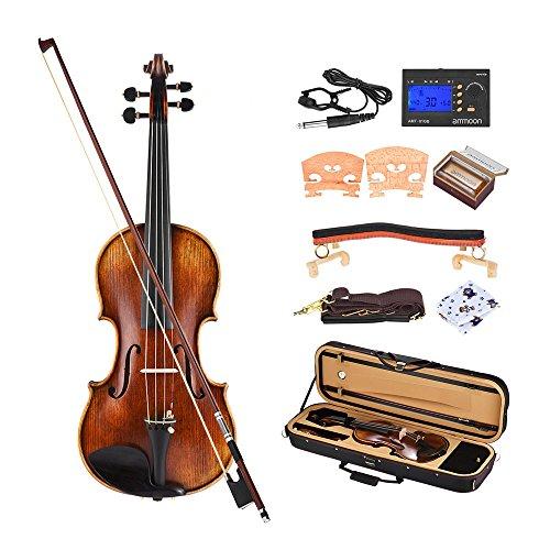 ammoon Pro Master Maestro Antonio Stradivari 1716 Stil Handgefertigte Antike 4/4 Volle Geigen-Geige-Kit mit Gepolstertem Tragekoffer Schulterstütze Metro-Tuner Rosin-Reinigungstuch Rich Power - 3 Geige 4 Saitenhalter