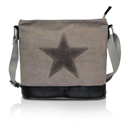 Glamexx24 Damen Handtaschen Tasche Schultertasche Umhängetasche mit Stern Muster Tragetasche TE201622 Grau