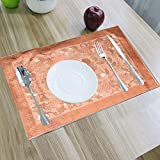 Kuber Industries Floral Design PVC 6 Piece Reversible Dining Table Place Mat Set - Gold