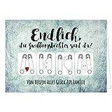 Große XXL Design Geburtskarte zur Geburt/Zwillinge / Klappkarte/mit Umschlag / A4 / 2 Mädchen - Zwillingstöchter/Baby geboren/Grußkarte zur Gratulation Eltern