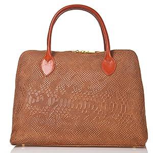 italienische Damen Henkeltasche Rio aus echtem Leder in cognac braun, Made in Italy, Handtasche 33x27 cm