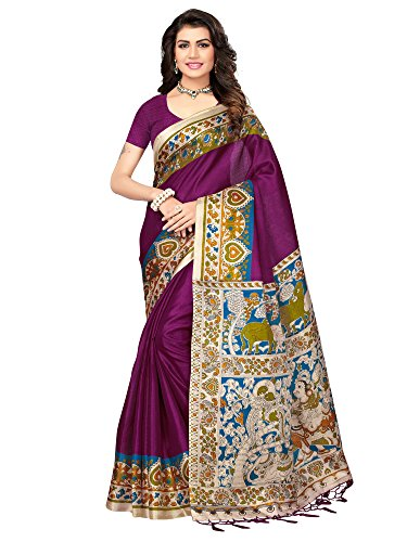 AKHILAM Women\'s Art Silk Saree with Unstitched Blouse Piece (Purple_Free Size)