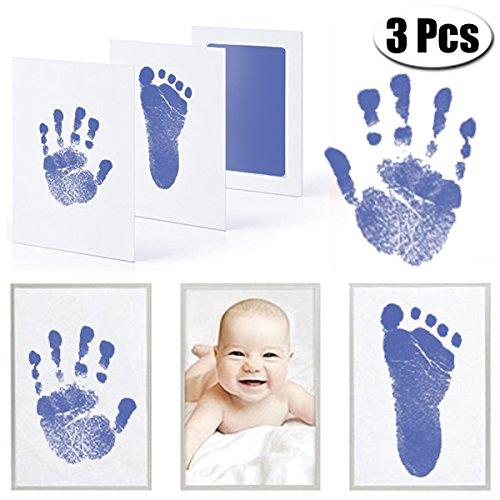 MCREE 3 pcs baby tinte pad für baby - fußabdrücke handabdrücken und fingerabdrücke kit mit 3 extra großen stempelkissen und 6 impressum karten perfekt halten baby erinnerung babyparty geschenkt
