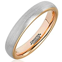 Bishilin Tungsten Silver Brushed Finish Domed Rose Gold Plated Inner 4MM Ring for Men Size P 1/2
