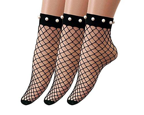 4 Paar Damen Fischnetz Söckchen Netz Socken Netzstrümpfe ,Schwarz mit Perle,Einheitsgröße - Damen Rüschen-söckchen