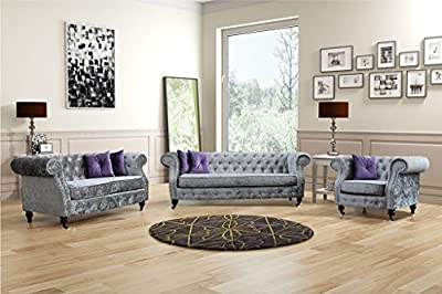 Lovesofas Belgravia Chesterfield 3 2 1 Seater Sofa Crushed Velvet Variations - Silver from Lovesofas
