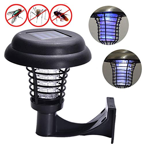 Solar Powered LED Light Mosquito Zapper Outdoor Bug Killer Backyard Insect Killing Lamp Solar Powered Pest Control Light for Garden Lawn