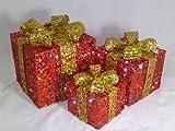 Christmas Concepts 3 pezzi Light Up Set pacchi natalizi - Rosso + oro con paillettes decorato con luci a LED - Decorazioni natalizie in rattan.