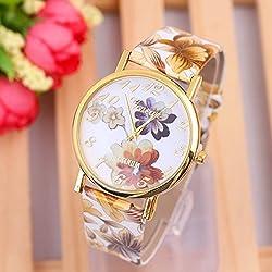 Popular Women Geneva Wrist Watch Woman Flower Quartz Wristwatch Ladies Fine Multiple Colors Watches Relogios Fashion W-285