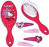 Unbekannt Set: Haarbürste + 4 Stück Haarspangen -  Katze - Hello Kitty  - incl. Name - für Mädchen / Kinder - Schmuck Haarschmuck - Blumen rosa Accessoires Haarspange..