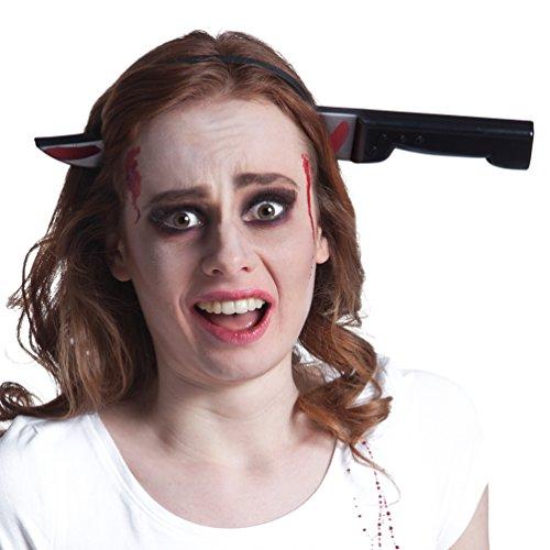 Karneval Klamotten Haarreif Messer im Kopf Messer-Haarreif (Halloween Kostüme Für Rote Köpfe)