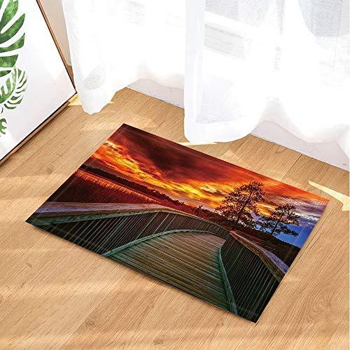 Bambus-brücke (ZZ7379SL Landschaft Bad Teppiche Wilderness Lakes Holz Korridor Brücke Sonnenuntergang 3D Digitaldruck 40x60 cm Schlafzimmer Küche Kinder Badezimmer Matte Zubehör)