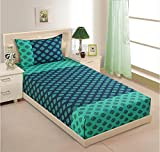 Swayam Printed Cotton Single Bedsheet with 1 Pillow Cover - Turquoise (SBS11-2008)