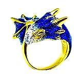Gold Sapphire Dragon Ring by MONVATOO London, eine freie Größe (verstellbare Band) 18 Karat vergoldet Dragon Ring Schmuck mit funkelnden marineblauen und weißen Emaille