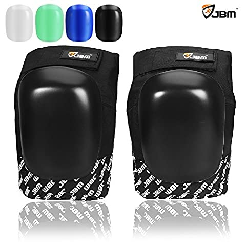 JBM Adult / Youth Knee Pads Guards Protective Gear with Replaceable Caps in Multi Colors Impact Resistance Adjustable for Skateboarding Inline Skate Scooter Cycling Biking BMX MTB (Black)