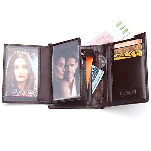 Contacts Männer Geldbeutel echtes Leder Tri Fold Short Wallet mit Foto / Kartenhalter Braun (Card Passcase Multi Wallet)
