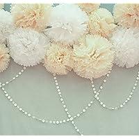 furuix 8pcs Bianco Mixed Crema tessuto Pom Pom fiore di carta per Baby doccia compleanno matrimonio tavolo decorazione da parete bianco panna - Ricevimento Di Nozze Tavolo Decorazioni