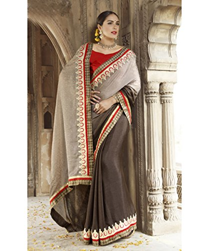 Triveni Faux Georgette,Jacquard Saree (Tsn600031_Grey)  available at amazon for Rs.1059