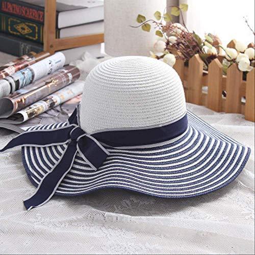 2019 Fashion Hepburn Wind Black White Striped Bowknot Summer Sun Hat Beautiful Women Straw Beach Hat Large Brimmed Hat 56-58CM Bule