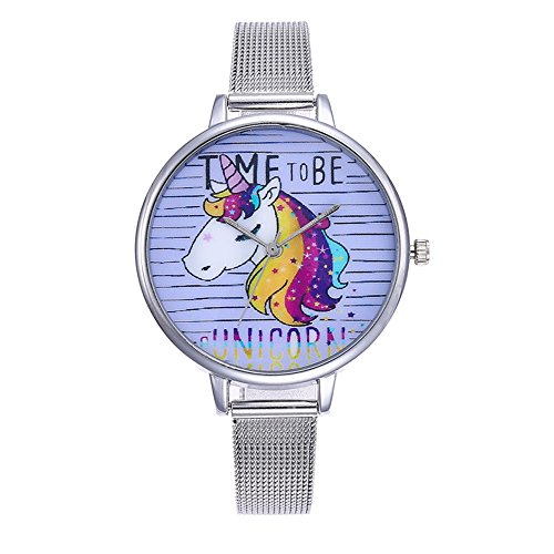 Souarts Damen Armbanduhr Einfach Mesh Metallarmband Flamingo Ananas Einhorn Regenbogen Casual Analoge Quarz Uhr Silber Farbe Einhorn Mädchen Uhr (Siber 5)