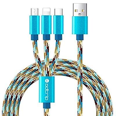 3 en 1 Multiple ADTRIP Câble Multi Cable Chargeur USB avec USB C / Micro USB / Lightning port pour iPhone 7/7 Plus, Huawei P9/P10, Samsung Galaxy S8/S7/S6, HTC, Nexus, Pixel 2/2 XL, etc par BLUEKEY - Boutique Audio et Hifi