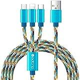 3 en 1 Multiple Câble Multi Cable Chargeur USB 3 en 1 avec Type C / Micro USB / Lightning port pour iPhone 7/7 Plus, Huawei P9/P10, Samsung Galaxy S8/S7/S6, HTC, Nexus, Pixel 2/2 XL, etc