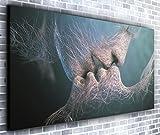 Berühren Lippen Wand Décor Panorama Wandbild auf Leinwand, gerahmt, XXL 139,7x 61cm über 4,5Ft breit x 2ft Hoch bereit Kunstdruck auf Leinwand–Landschaft–Modern Art