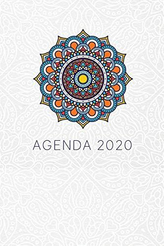 Agenda 2020: Mandala Azul Planeador Anual Mensual Semanal de 6x9 inches o 15x22 cm, con 135 páginas en blanco y negro para mujeres jóvenes.