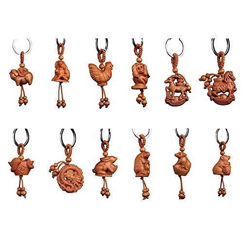 Yosemite Chinesischer einzigartiger Tierkreis, der hölzernes hängendes Keychain Schlüsselring-Beutel-hängendes Dekor-Geschenk schnitzt Hase# -