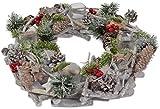 CHICCIE Vintage Adventskranz mit Teelichthalter Zapfen Beeren Zweigen - Ø 36cm CC - Weihnachten Deko Dekokranz