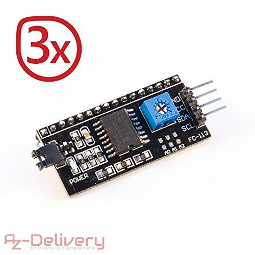 AZDelivery 3er Set I2C IIC Adapter Serielle Schnittstelle für LCD Display 1602 und 2004