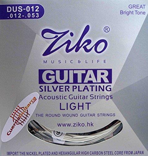 2 Juegos de cuerdas ZIKO DUS-012 para Guitarra Acústica Calibre 012-053 SILVER PLATING 2 JUEGOS X EL PRECIO DE 1