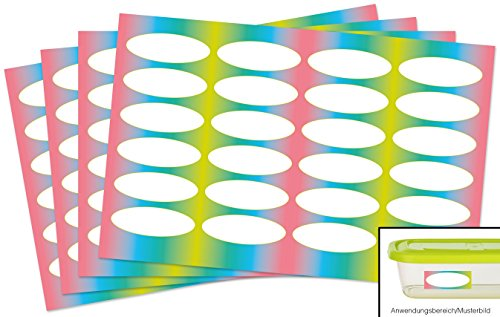 Kigima 96 edle Aufkleber Sticker Klebe-Etiketten Leer 5,2x2cm rechteckig bunt Elypsen-Look perfekt für Geschenke, Hochzeit oder Tischdeko Leer Eingelegte Gläser