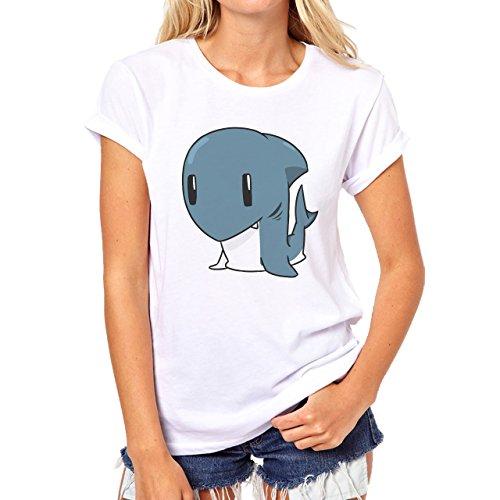 Shark Sea Fish Predator Cute Damen T-Shirt Weiß