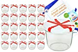 Set di 25 barattoli in vetro da 230 ml To 82, con coperchio bianco e decorazione a forma di fiocco e ricettario Diamant Gelierzauber (lingua italiana non garantita) - Barattoli da marmellata, vasi per conserve, barattoli per conserve