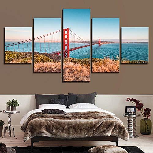 jixiaosheng Mur Art Impressions sur Toile Illustration Modulaire Peinture Décor 5 Panneau Le Golden Gate Bridge Moderne Image Cadre Pas Cher Affiche-40x60 40x80 40x100cmx1