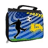 Kulturbeutel mit Namen Tim und Fußball-Motiv für Jungen | Kulturtasche mit Vornamen | Waschtasche für Kinder