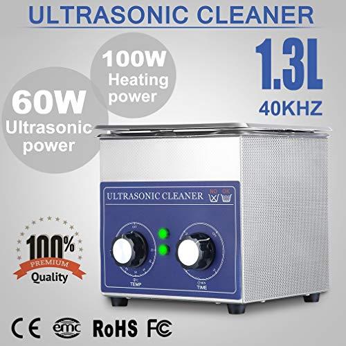 SWEEPID 1,3L Ultraschallreinigungsgerät Ultraschall-Reinigungsgerät mit Heizung Digitale Timer Ultraschallreiniger großer Tank mit Korb (1,3L)